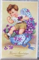 Litho Illustrateur GOUGEON Gold GOLO Garcon Sortant De Boite A Chapeau Fleurs Violette Violettes Ruban - Gougeon