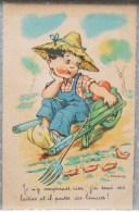 Litho Ancienne Illustrateur GOUGEON HAMEL Enfant Garcon Brouette Jardin Limaces Chapeau De Paille Fourche - Gougeon