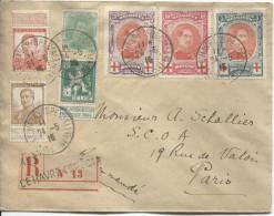 TP 110-111-113-129-132-133-134 Croix Rouge S/L.recommandée En 1915 C.Le Havre Special V.Paris PR1817 - WW I