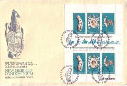 NOUVELLES-HEBRIDES - FEUILLET DE 2 TRIPTYQUES - LEGENDE ANGLAISE ET FRANCAISE - 2 ENVELOPPES PREMIER JOUR EN 1978. - FDC
