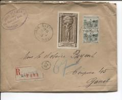 TP 164(2)-165(16) Orphelins De Guerre+Vignette S/L.recommandée C.Sèvres En 1925 V.Gand Belgique PR1821 - France