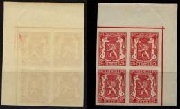 1936 Staatswappen Mi.N° 419 **ungezähnt(geschnitten) Als Viererblock=Bloc De Quatre Vom Eckrand = Absolut ** - 1929-1937 Heraldischer Löwe