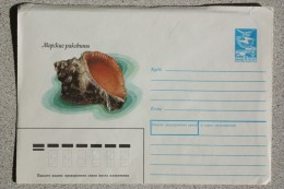 USSR. Seashell. 1988 Postal Stationery Envelope Cover - Poissons Et Crustacés