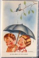 Litho Illustrateur GOUGEON  Enfant Duo Enfants Amoureux Sous Parapluie Caca Oiseau Branche Edition Comiques - Gougeon