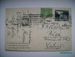 1935 POLAND WARSZAWA  TO LATVIA RIGA  , ADVERTISEMENT CANCELLATIONS   ,  OLD POSTCARD , 0 - 1919-1939 Republik