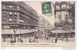 MO-    PARIS  LA RUE LAFAYETTE ET LE CARREFOUR DELA CHAUSSEE D´ANTIN  CPA  CIRCULEE - Distretto: 09