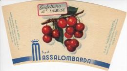 RARA ETICHETTA PUBBLICITARIA-LABEL - MARMELLATA DI AMARENE  - MASSALOMBARDA  SpA - Fruit En Groenten
