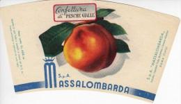 RARA ETICHETTA PUBBLICITARIA-LABEL - MARMELLATA DI PESCHE GIALLE  - MASSALOMBARDA  SpA - Fruit En Groenten