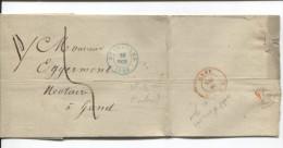 LSC C.Bruxelles En Bleu 10/10/1849 Taxée 5 V.Gand C.d'arrivée PR1836 - 1830-1849 (Belgique Indépendante)