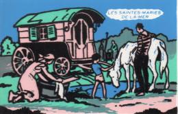 Jolie Carte En Tissus Relief , Les Gitans , Bohemiens , Animations Avec Roulotte - Europe