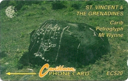 St. Vincent & Grenadines - Carib Petroglyph, 7CSVB, 1993, 10.000ex, Used - St. Vincent & Die Grenadinen