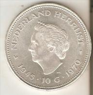 MONEDA DE PLATA DE HOLANDA DE 10 GULDEN DEL AÑO 1970  (COIN) SILVER-ARGENT - [ 8] Gold And Silver Coins