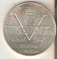 MONEDA DE PLATA DE NORUEGA DE 25 KRONER DEL AÑO 1970  (COIN) SILVER-ARGENT - Noruega
