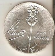MONEDA DE PLATA DE NORUEGA DE 50 KRONER DEL AÑO 1978  (COIN) SILVER-ARGENT - Noruega