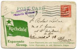 GRANDE-BRETAGNE THEME ESPERANTO CARTE POSTALE ECRITE EN ESPERANTO DEPART ROCHDALE APR 27-1916 POUR LA FRANCE - Esperanto