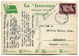 HONGRIE THEME ESPERANTO CARTE POSTALE ECRITE EN ESPERANTO DEPART BUDAPEST 1.VIII.49 POUR LA HONGRIE - Esperanto