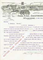 Brief 1904 - DÜSSELDORF-LEIPZIG-BERLIN -STUTTGART - FERD. EMIL JAGENBERG - Fabricant & Constructeur Machines De Papi - Non Classés