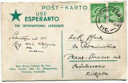 AUSTRALIE THEME ESPERANTO CARTE POSTALE ECRITE EN ESPERANTO DEPART SHEPPARTON 23 MR 38 POUR LA TCHECOSLOVAQUIE - Esperanto