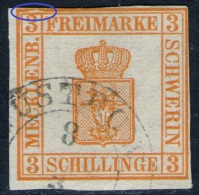 Güstrow 8/3 Auf 3 Shilling Gelborange - Schwerin Nr. 2 B Mit Abart - Pracht - Mecklenburg-Schwerin
