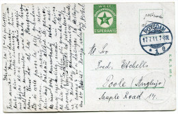 ALLEMAGNE THEME ESPERANTO CARTE POSTALE ECRITE EN ESPERANTO DEPART POTSDAM 17.7.11 POUR L'ANGLETERRE - Esperanto