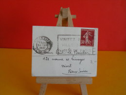 Flamme - 76 Seine Maritime,Rouen, Visitez Rouen - 30.12.1937 - Marcophilie (Lettres)