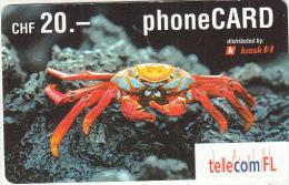 LIECHTENSTEIN - Crab, Telecom FL Prepaid Card CHF 20, Exp.date 12/03, Used - Liechtenstein