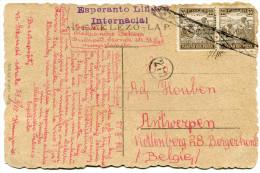 HONGRIE THEME ESPERNTO CARTE POSTALE ECRITE EN ESPERANTO DEPART BUDAPEST 27 XI 1921 POUR LA BELGIQUE - Esperanto