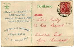 ALLEMAGNE THEME ESPERANTO CARTE POSTALE ECRITE EN ESPERANTO DEPART LEIPZIG 30-9-1920 POUR LA FRANCE - Esperanto
