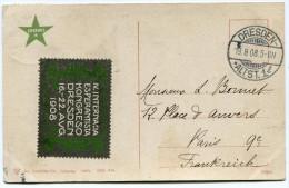 ALLEMAGNE THEME ESPERANTO CARTE POSTALE AVEC VIGNETTE  IV. INTERNACIA ESPERANTISTA KONGRESO DRESDEN 16.-22. AVG 1908 - Esperanto
