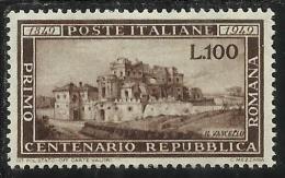 ITALIA REPUBBLICA ITALY REPUBLIC 1949 CENTENARIO DELLA REPUBBLICA ROMANA MNH BEN CENTRATO
