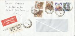Italy Express Cover Sent To Denmark Tolentino 29-6-1990 - 6. 1946-.. Repubblica