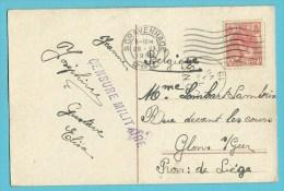 Kaart Met Stempel 'S GRAVENHAGE Naar GLONS Met Stempel CENSURE MILITAIRE 163 - 1891-1948 (Wilhelmine)