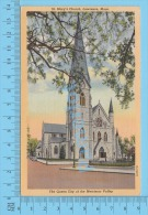 CPSM, Massachusetts ( 1948 St. Mary Church, Laurence ) Linen Postcard Recto/Verso - Lawrence