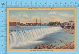 CPSM, Massachusetts ( The Dam Merrimac River, Lawrence ) Linen Postcard Recto/Verso - Lawrence
