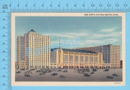 CPSM, Massachusetts ( New North Station, Boston Animated ) Linen Postcard Recto/Verso - Boston