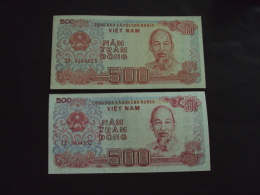 02 Different Vietnam Viet Nam 500 Dong UNC Banknotes 1988  / 02 Images - Vietnam