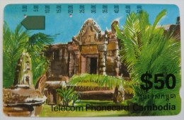 CAMBODIA - 2nd Issue - $50 - Tamura - Temple - Used - Cambodia
