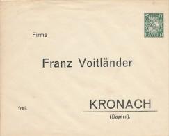 90? ,  Vogtländer KRONACH , Privatumschlag  -  Dispatch:  Big Letter - Bayern