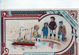 - CHROMO - Les Jouets Anciens - Le Bateau à Vapeur - Façade Du Chromo En Très Bon état,  Dos Décollé D'un Album  - 912 - Chocolat