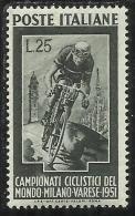 ITALIA REPUBBLICA ITALY REPUBLIC 1951 CAMPIONATI CICLISTICI DEL MONDO MILANO VARESE CICLISMO MNH - 1946-60: Nuovi