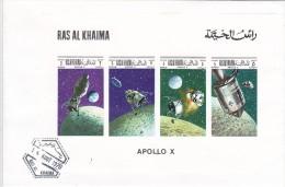 Ras Al Khaima 1969,Apollo X, DE LUXE S.SHEET With Strip Of On Official FDC- Rare Space Cover - AR-SKRILL PAY ONLY - Ra's Al-Chaima