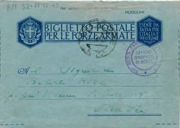 BIGLIETTO POSTALE PER LE FORZE ARMATE POSTA MILITARE NR 32 1943 - 1900-44 Vittorio Emanuele III
