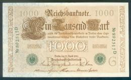 Deutschland, Germany - 1000 Mark, Reichsbanknote, Ro. 46 A , Selten, Rare ( Serie G/D ) 1910 ! - 1000 Mark