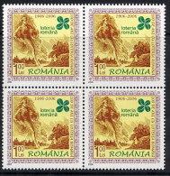 ROMANIA 2006 State Lottery Centenary Block Of 4 MNH / **.  Michel 6123 - 1948-.... Republics