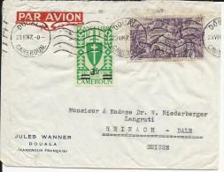 CAMEROUN - 1947 - ENVELOPPE  Par AVION De DOUALA Pour REINACH BALE (SUISSE) - Cameroun (1915-1959)