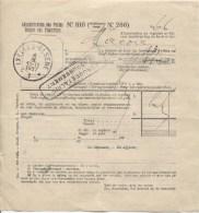 Document De L'Administration Des Postes N°810 C.Ixelles + Griffe Bilingue Remboursement En 1937 PR1845 - Documents Of Postal Services