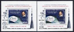 ROMANIA 2006 First Romanian Astronaut Blocks With Gold And Silver Inscriptions  MNH / **.  Michel Blocks 377a-b - 1948-.... Republics