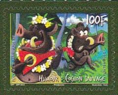 Timbre Polynésie Française Neuf Sans Trace Luxe . MNH . Année 2014 . Humour Le Cochon Sauvage ( Adhésif ) - French Polynesia