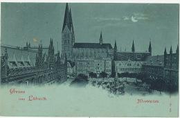 Gruss Aus Lubeck Bleu A La Lune   Marktpaltz Edit Hamburg 553 - Luebeck