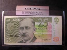 Estland Estonia 25 Krooni 1992 Banknote UNC In Official Bank Holder Of Estonian Bank AM000502 - Estland